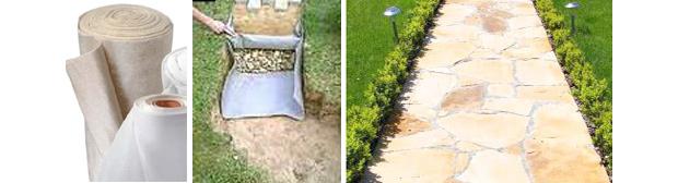 использование геотекстиля при укладке дорожек из камня